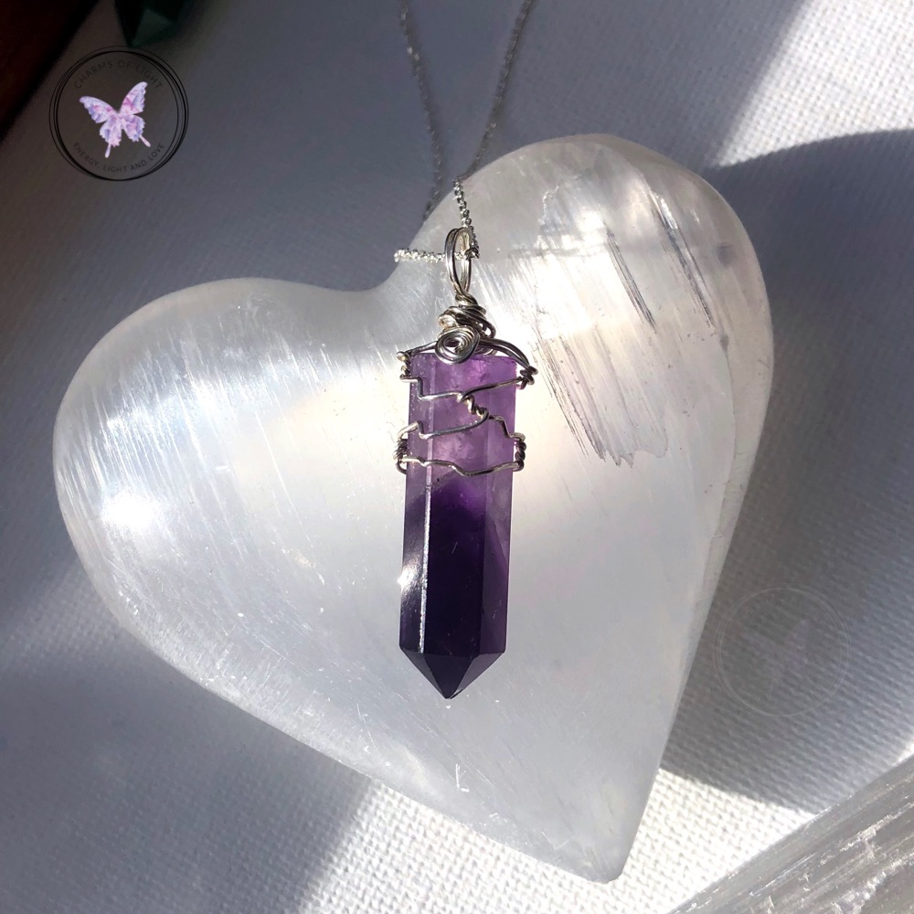 """Amethyst Crystal Point Pendant 30mm with 20/"""" Silver Necklace Meditation Calming"""