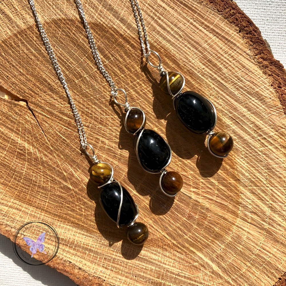 Tiger/'s Eye Wire Wrap Gemstone Necklace