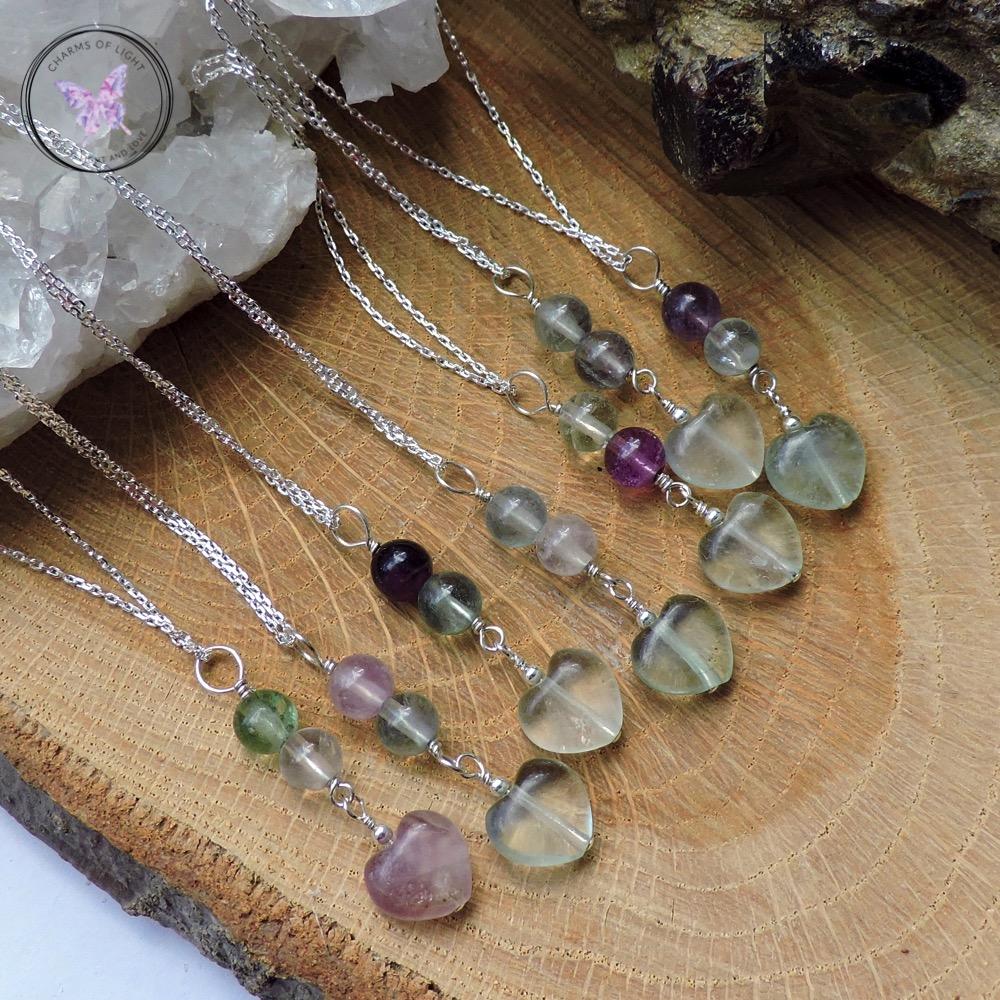 Fluorite Heart Sterling Silver Necklace