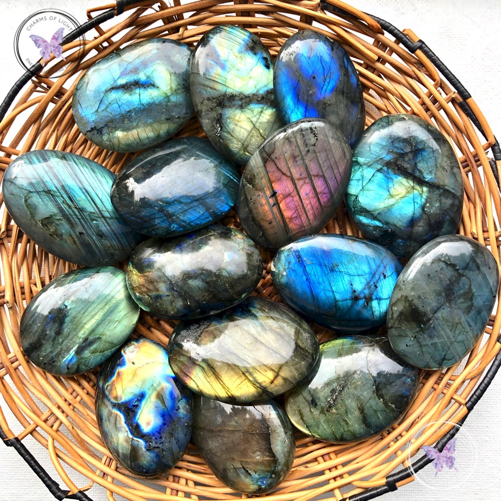 palm stone Labradorite palm stone Labradorite crystal crystal palm stone crystal worry stone flashy palm stone metaphysical stones