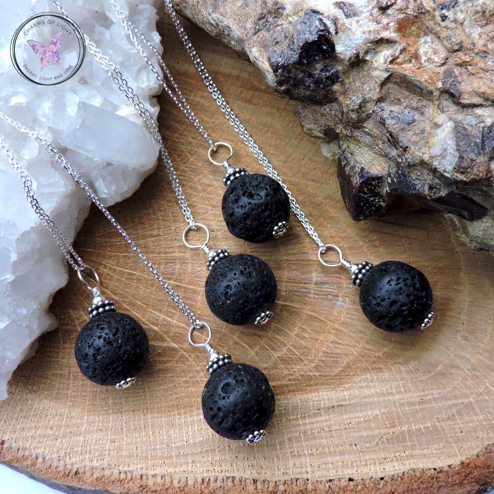 Lava Stone Essential Oil Diffuser Pendant Necklace