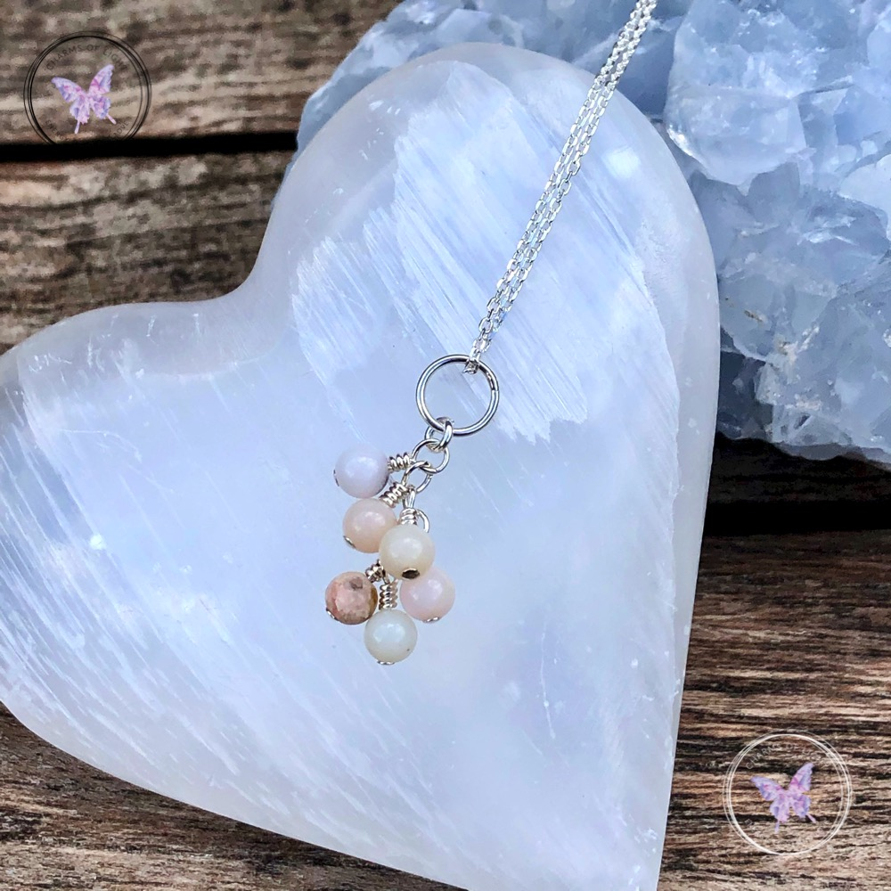 Pink Opal Cluster Necklace
