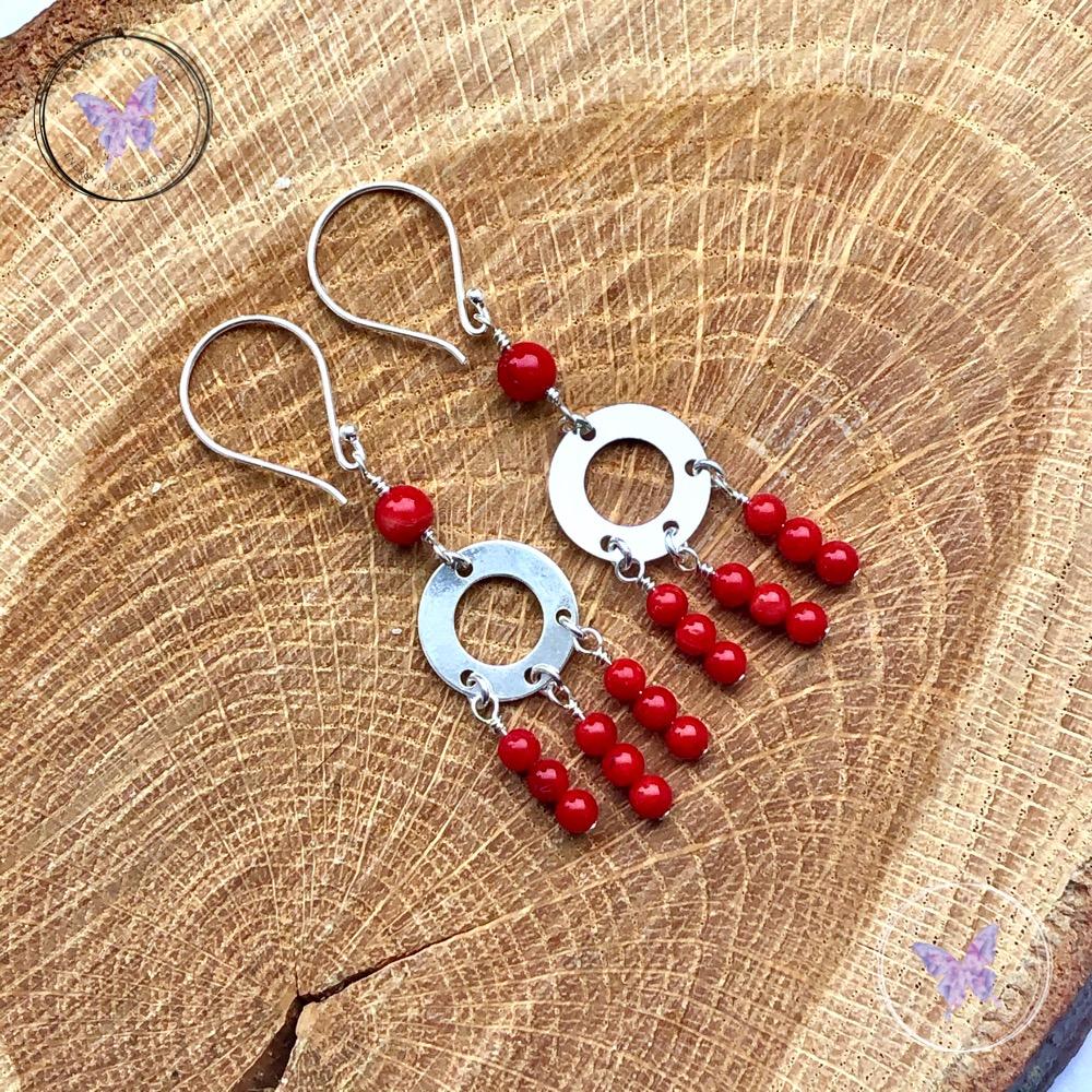 Red Coral Chandelier Earrings
