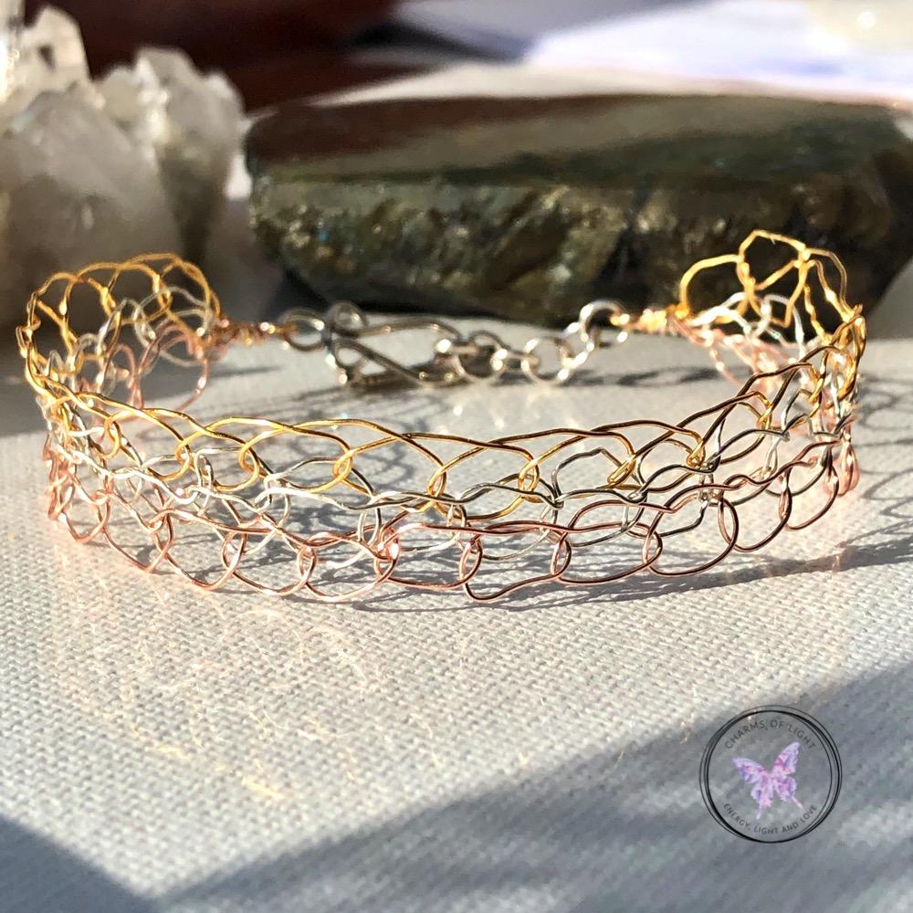 Three Tone Wire Crochet Bracelet