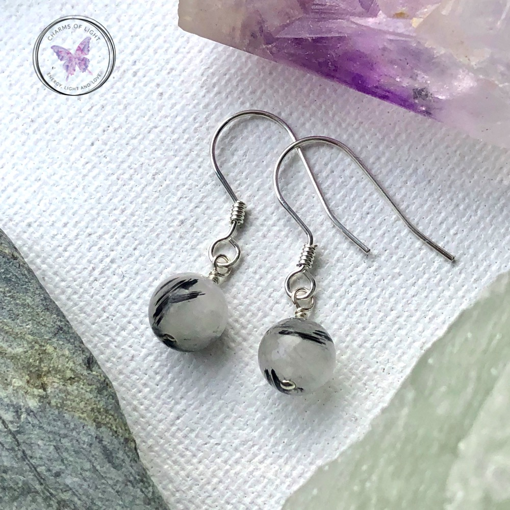 Sterling Silver Wire Wrapped Dangle Earrings featuring Black Sunstone