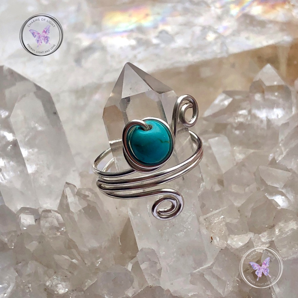 Turquoise Sterling Silver Wire Wrapped Ring Handmade Size N